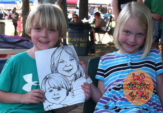 Live caricatures at parties and events = fun entertainment and party favors!